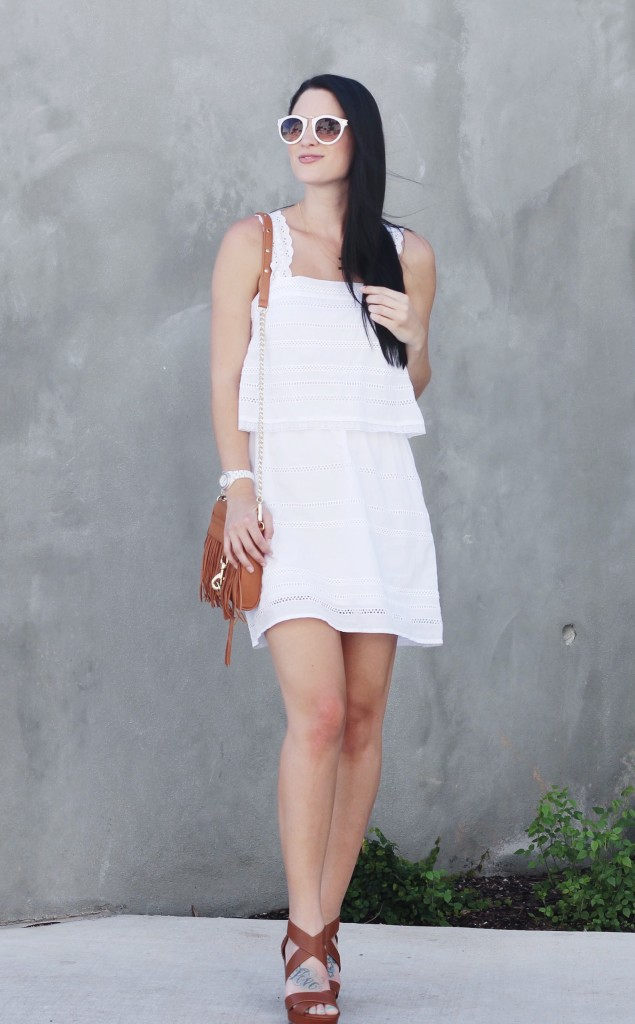 White Eyelet Dress | how to style a white dress | how to wear a white dress | white dress style ideas | summer fashion tips | summer outfit ideas | summer style tips | what to wear for summer | warm weather fashion | fashion for summer | style tips for summer | outfit ideas for summer || Dressed to Kill
