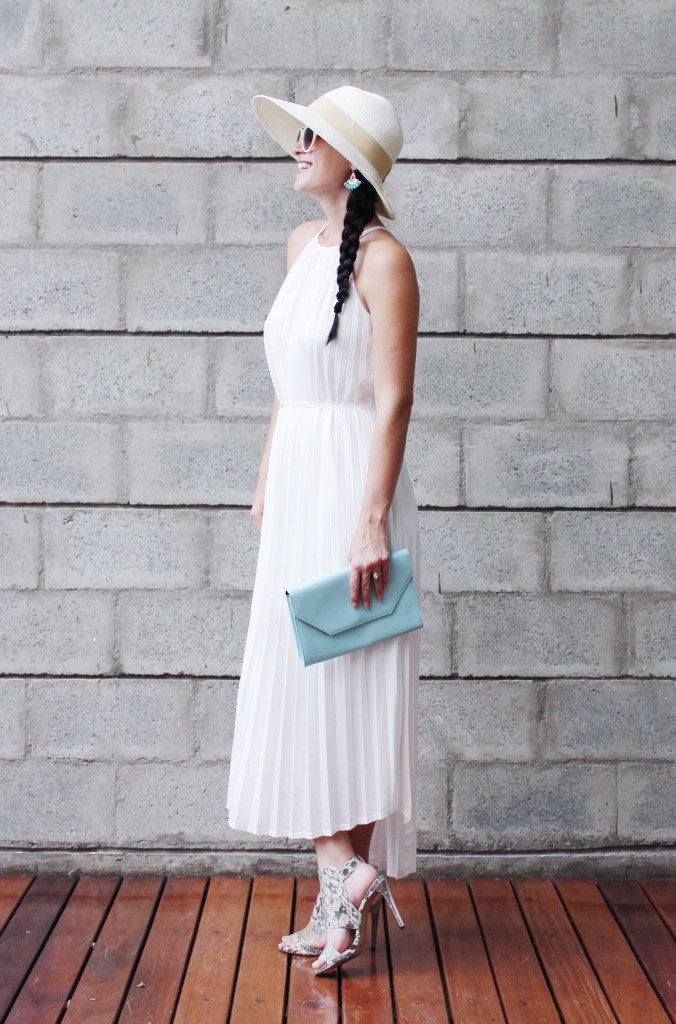 White Pleated Maxi Dress | how to style a maxi dress | how to wear a maxi dress | maxi dress style tips | summer fashion tips | summer outfit ideas | summer style tips | what to wear for summer | warm weather fashion | fashion for summer | style tips for summer | outfit ideas for summer || Dressed to Kill