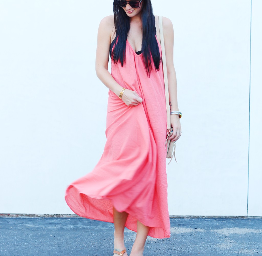 Salmon Maxi Dress | how to style a maxi dress | how to wear a maxi dress | maxi dress style tips | summer fashion tips | summer outfit ideas | summer style tips | what to wear for summer | warm weather fashion | fashion for summer | style tips for summer | outfit ideas for summer || Dressed to Kill
