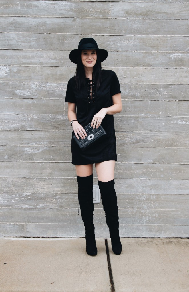 Faux Suede Lace Up Dress | black suede dress | otk boots | how to style a suede dress | suede dress style ideas | fall fashion tips | fall outfit ideas | fall style tips | what to wear for fall | cool weather fashion | fashion for fall | style tips for fall | outfit ideas for fall || Dressed to Kill #suededress #otkboots #blackdress #lbd