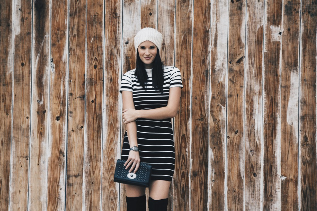 Black and White Striped Dress + OTK Boots | how to style a striped dress | how to wear a striped dress | fall dresses | dresses for fall | fall fashion tips | fall outfit ideas | fall style tips | what to wear for fall | cool weather fashion | fashion for fall | style tips for fall | outfit ideas for fall || Dressed to Kill #stripeddress #otkboots #blackandwhite